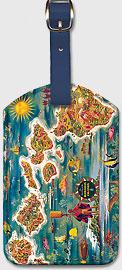 Map of Hawaiian Islands - Vintage Hawaiian Art Leatherette Luggage Tags