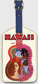 Hawaii - Hawaiian Guitar - Hawaiian Leatherette Luggage Tags