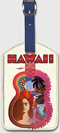 Hawaii - Hawaiian Guitar - Hawaiian Leatherette Luggage Tags