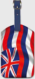 Hawaiian Flag Waving - Hawaiian Leatherette Luggage Tags