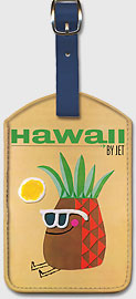 Pan Am Hawaii Pineapple Head - Hawaiian Leatherette Luggage Tags