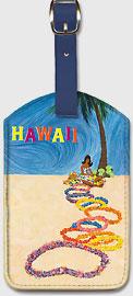 Hawaii Flower Leis - Hawaiian Leatherette Luggage Tags