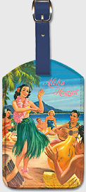 Aloha Hawaii - Dancing Hula Girl - Hawaiian Leatherette Luggage Tags