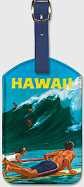 Hawaii - Big Wave Surfing at Waimea - Hawaiian Leatherette Luggage Tags