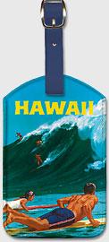 Hawaii - Big Wave Surfing at Waimea - Hawaiian Leatherette Luggage Tags