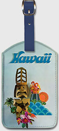 Hawaii - Tiki & Volcano - Hawaiian Leatherette Luggage Tags