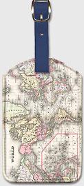 Vintage World Map - Leatherette Luggage Tags