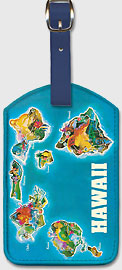 Hawaii Islands Vintage Pictorial Map c.1961 - Hawaiian Leatherette Luggage Tags