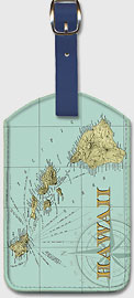 Map Of Hawaii - Hawaiian Leatherette Luggage Tags