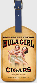 Hula Girl Cigars - Kona Coffee Flavor - Hawaiian Leatherette Luggage Tags
