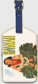 Hawaiian Hula Girl - Hawaiian Leatherette Luggage Tags