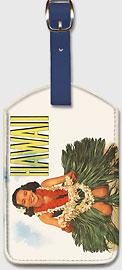 Hawaiian Hula Girl - Hawaiian Leatherette Luggage Tags
