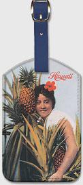 Hawaii - Pineapple Girl - Hawaiian Leatherette Luggage Tags