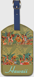 Hawaii - SS Lurine and SS Matsonia - Matson Lines - Hawaiian Leatherette Luggage Tags
