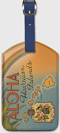 Aloha Hawaiian Islands - Hawaiian Leatherette Luggage Tags