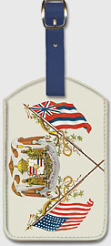 Royal Hawaiian Coat of Arms - Hawaiian Leatherette Luggage Tags