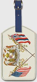 Royal Hawaiian Coat of Arms - Hawaiian Leatherette Luggage Tags