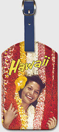 Hawaii - Flower Leis - Hawaiian Leatherette Luggage Tags