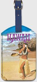 Hawaii Hula Girl On The Beach - Hawaiian Leatherette Luggage Tags