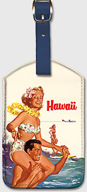Hawaii - Northwest Orient Airlines - Hawaiian Leatherette Luggage Tags