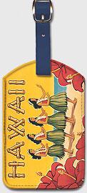 Hawaii - Hula Dancers - Vintage Hawaiian Art Leatherette Luggage Tags