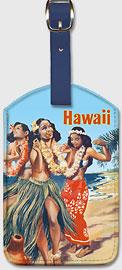 Hawaii Hula Dancers - Hawaiian Leatherette Luggage Tags