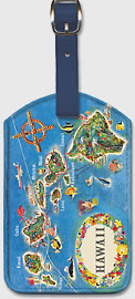 Pictorial Map of the State of Hawaii - Hawaiian Airlines Route Map - Hawaiian Leatherette Luggage Tags