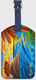Palm Island Sunrise - Hawaiian Leatherette Luggage Tags