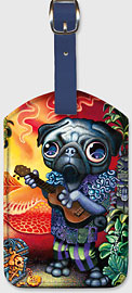 Tiki Dog - Hawaiian Leatherette Luggage Tags