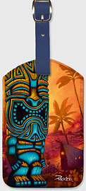 Tiki of the Blue - Hawaiian Leatherette Luggage Tags