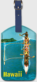 Hawaii Outrigger Canoe - Hawaiian Leatherette Luggage Tags