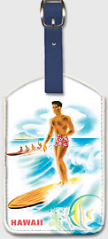 Matson Lines to Hawaii, Surfer and Outrigger - Hawaiian Leatherette Luggage Tags
