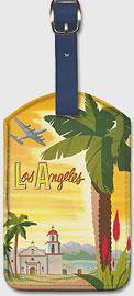Fly TWA Los Angeles, Palm - Leatherette Luggage Tags