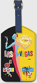 Fly TWA Las Vegas - Night & Day - Leatherette Luggage Tags