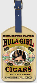Hula Girl Cigars - Hawaiian Leatherette Luggage Tags
