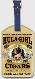 Hula Girl Cigars - Hawaiian Leatherette Luggage Tags