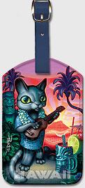 Tiki Cat - Hawaiian Leatherette Luggage Tags