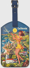 Southern California, United Airlines - Leatherette Luggage Tags