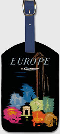 Europe - European Tourist Destinations - Leatherette Luggage Tags