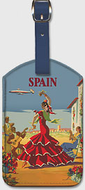 España (Spain) -  El Baile de Andalucia (The Dance of Andalucia) - Iberia Air Lines - Flamenco Dancers - Leatherette Luggage Tags