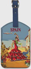España (Spain) -  El Baile de Andalucia (The Dance of Andalucia) - Iberia Air Lines - Flamenco Dancers - Leatherette Luggage Tags