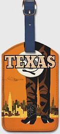 Texas - Braniff International Airways - Cowboy - Leatherette Luggage Tags