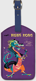 Hong Kong - Chinese Treasure Dragon - Leatherette Luggage Tags