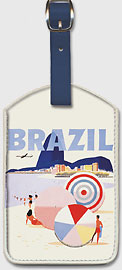Brazil, Rio de Janeiro beaches & Sugarloaf Mountain - Braniff International Airways - Leatherette Luggage Tags
