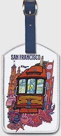 San Francisco - TWA Trans World Airlines - Presidio Ave., California & Market Street Cable Car - Leatherette Luggage Tags