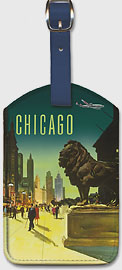 Chicago - Art Institute of Chicago Lion - TWA Air Lines - Leatherette Luggage Tags