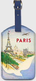 Paris France - Air France - Eiffel Tower, Notre Dame Cathedral and Basilica of the Sacred Heart - Leatherette Luggage Tags
