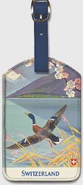 Holidays in Switzerland - Mallard (Wild Duck) takes flight over Lake Lucern - Leatherette Luggage Tags