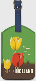 Holland - American Airlines - Tulips and Windmill - Leatherette Luggage Tags
