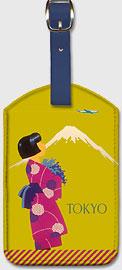 Tokyo Japan - Japanese Girl with Kimono and Mount Fuji - Leatherette Luggage Tags